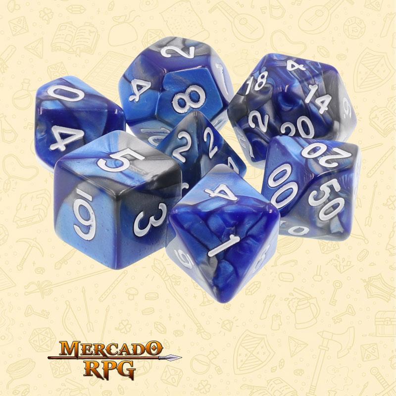 Dados de RPG - Conjunto com 7 Dados Blend - Silver & Blue Blend Color Dice - Mercado RPG