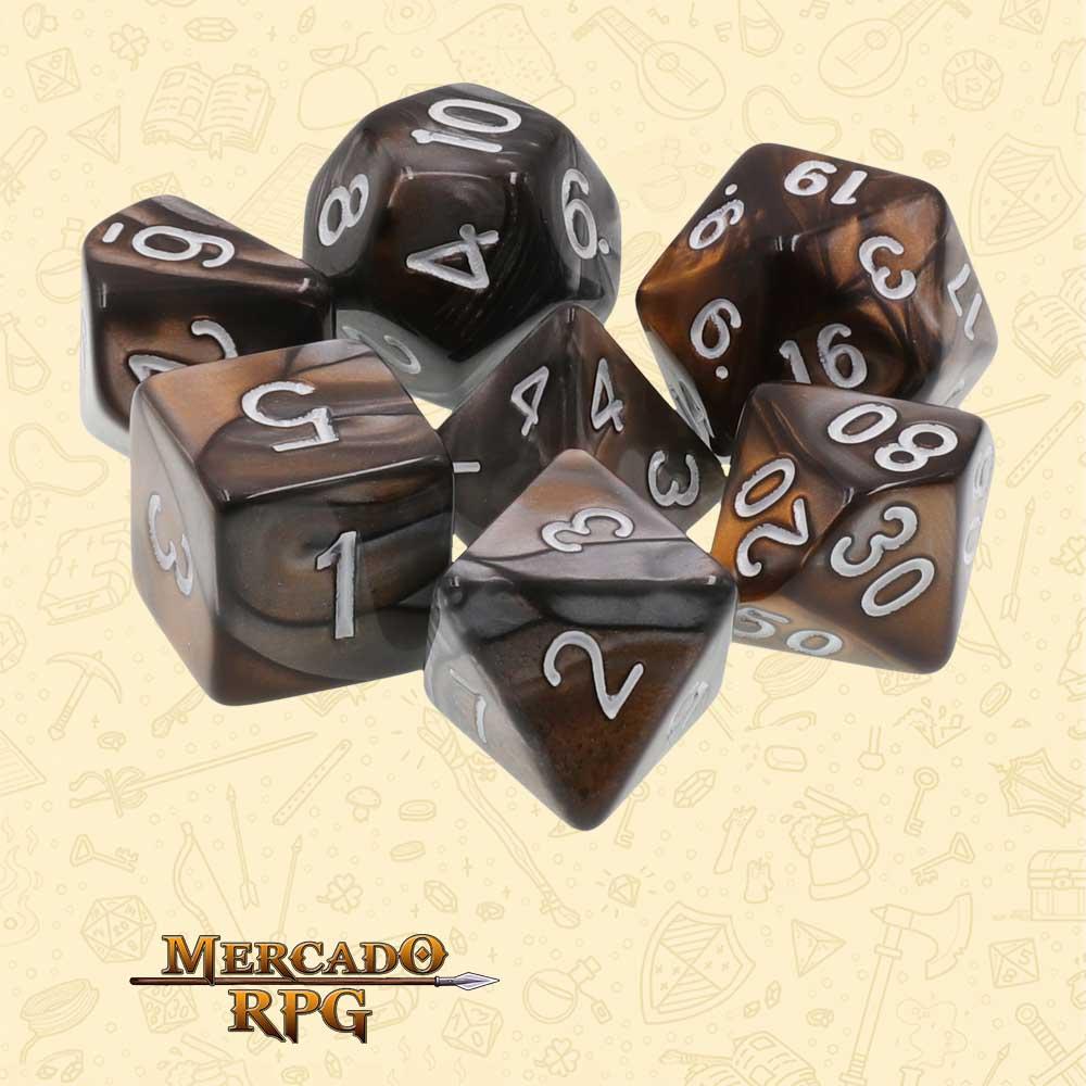 Dados de RPG - Conjunto com 7 Dados Blend - Silver & Gold Blend Color Dice - Mercado RPG