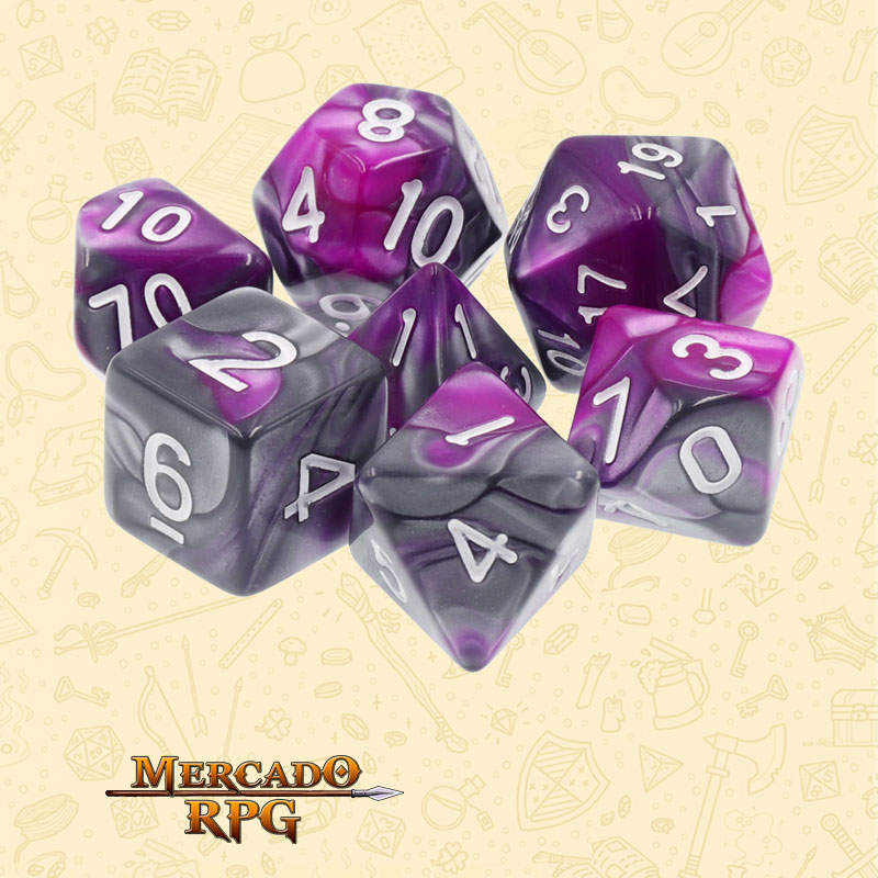 Dados de RPG - Conjunto com 7 Dados Blend - Silver & Purple Blend Color Dice - Mercado RPG