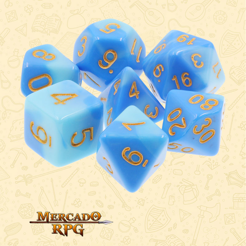 Dados de RPG - Conjunto com 7 Dados Blend - Sky Blue & Blue Blend Color Dice - Mercado RPG