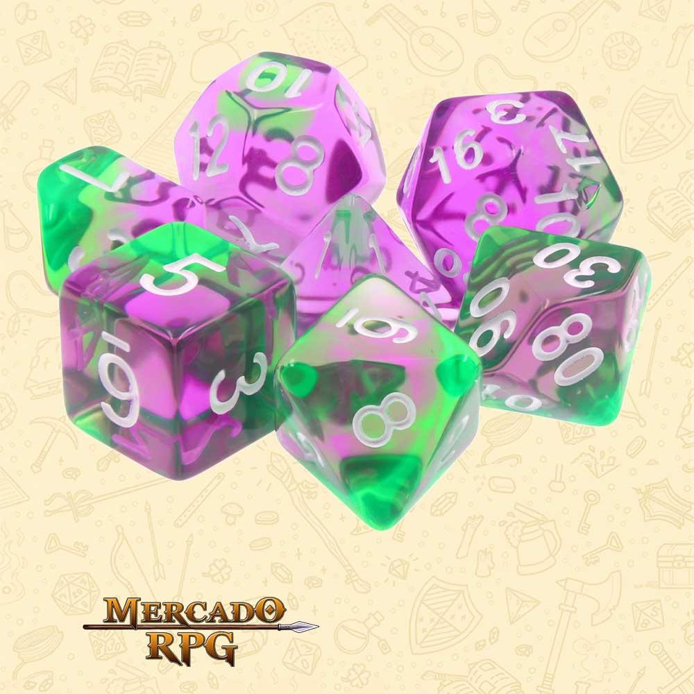 Dados de RPG - Conjunto com 7 Dados Blend - Violet Evergreen Blend Color Dice - Mercado RPG