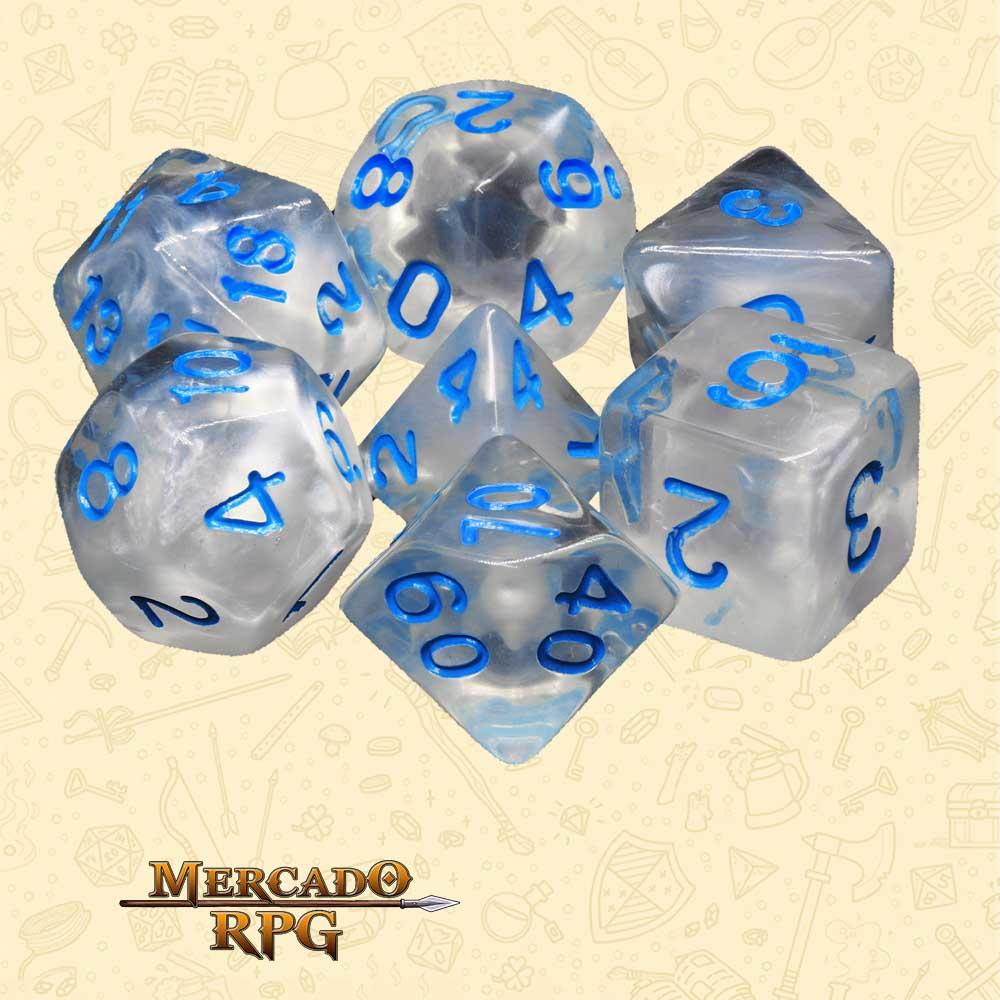 Dados de RPG - Conjunto com 7 Dados Blend - Winter's Waltz Blend Color Dice - Mercado RPG