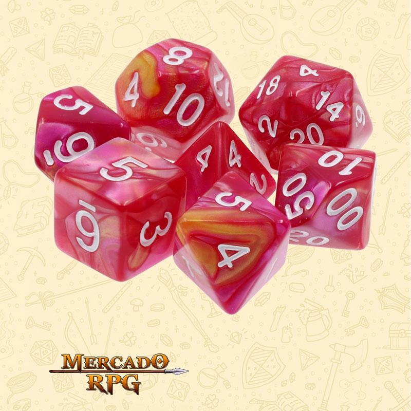 Dados de RPG - Conjunto com 7 Dados Blend - Yellow & Rose Blend Color Dice - Mercado RPG