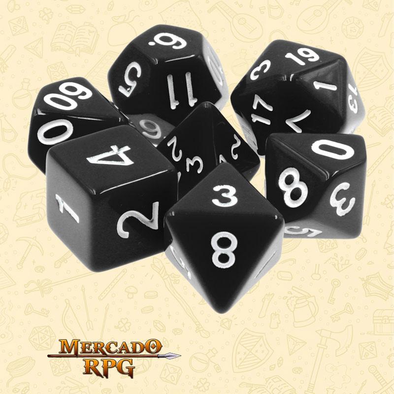 Dados de RPG - Conjunto com 7 Dados Opacos - Black Opaque Dice - Mercado RPG