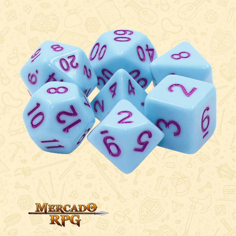 Dados de RPG - Conjunto com 7 Dados Opacos - Blue Jay Opaque Dice Purple Font - Mercado RPG