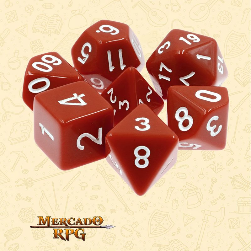 Dados de RPG - Conjunto com 7 Dados Opacos - Brown Opaque Dice - Mercado RPG
