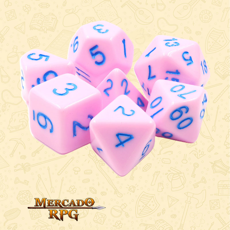 Dados de RPG - Conjunto com 7 Dados Opacos - Cremy Ice Opaque Dice Blue Font - Mercado RPG