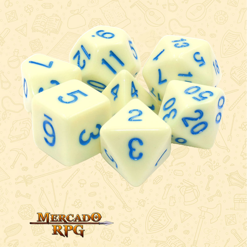 Dados de RPG - Conjunto com 7 Dados Opacos - Eggshell Robin Opaque Dice Blue Font - Mercado RPG