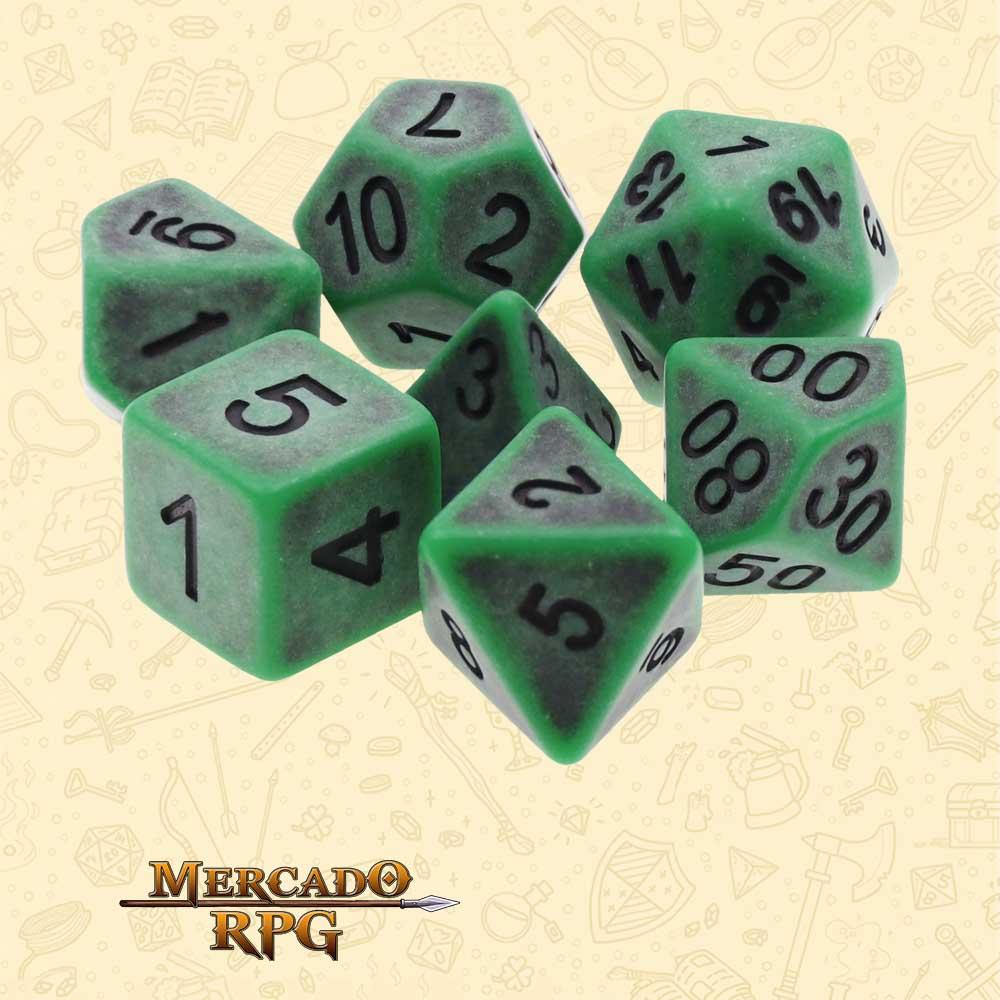 Dados de RPG - Conjunto com 7 Dados Opacos - Green Ancient Dice - Mercado RPG