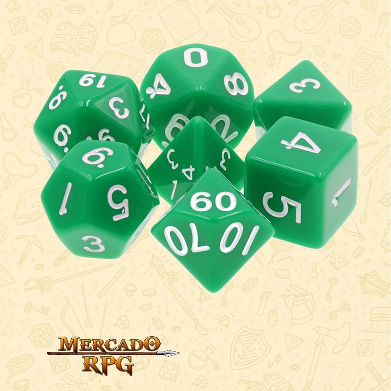Dados de RPG - Conjunto com 7 Dados Opacos - Green Opaque Dice - Mercado RPG