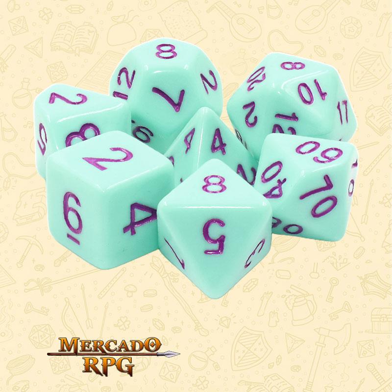 Dados de RPG - Conjunto com 7 Dados Opacos - Mint Rose Opaque Dice Purple Font - Mercado RPG