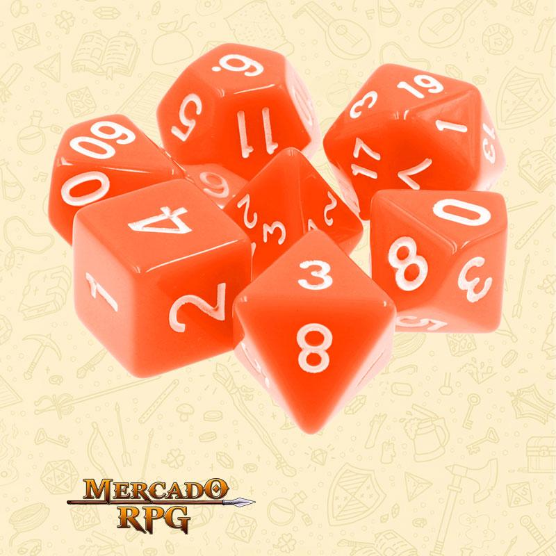 Dados de RPG - Conjunto com 7 Dados Opacos - Orange Opaque Dice - Mercado RPG
