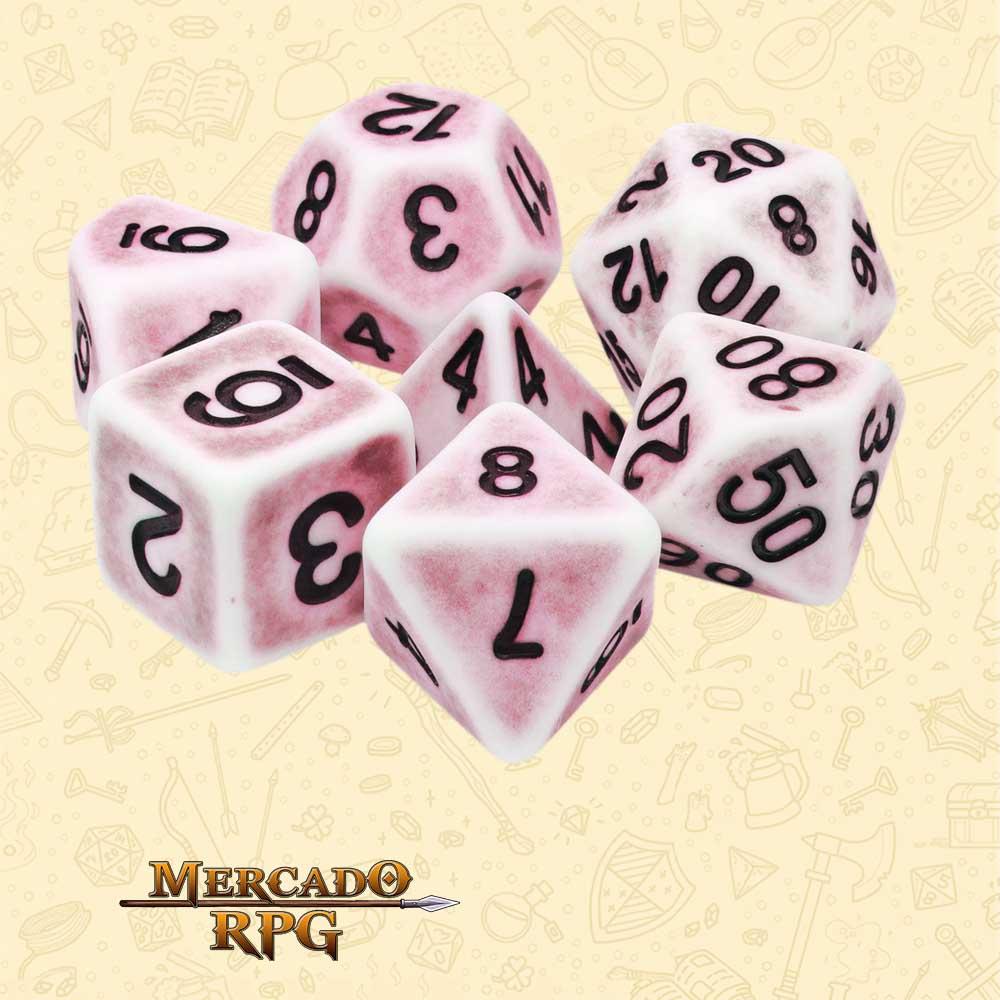 Dados de RPG - Conjunto com 7 Dados Opacos - Pink Ancient Dice - Mercado RPG