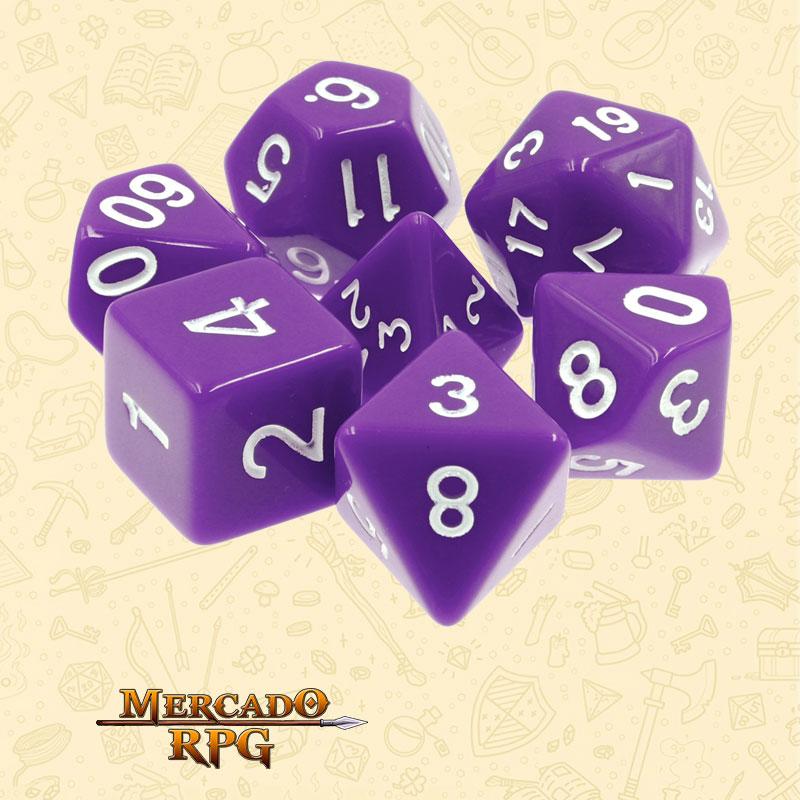 Dados de RPG - Conjunto com 7 Dados Opacos - Purple Opaque Dice - Mercado RPG