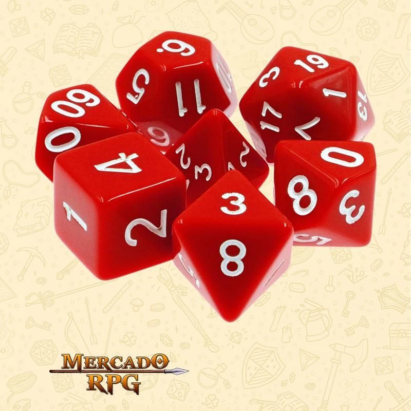 Dados de RPG - Conjunto com 7 Dados Opacos - Red Opaque Dice - Mercado RPG