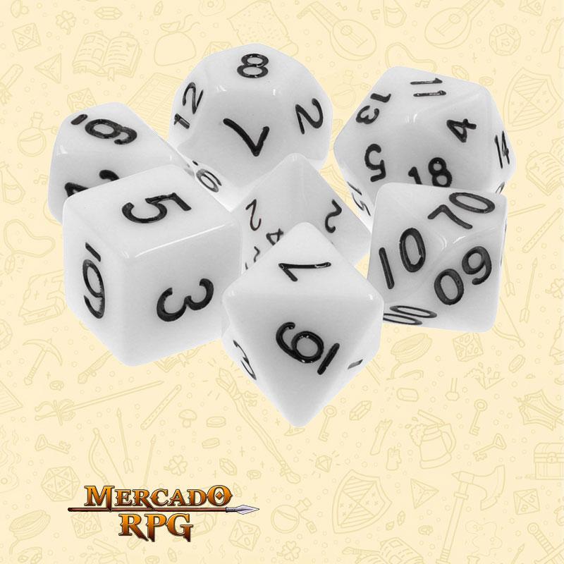 Dados de RPG - Conjunto com 7 Dados Opacos - White Opaque Dice - Mercado RPG