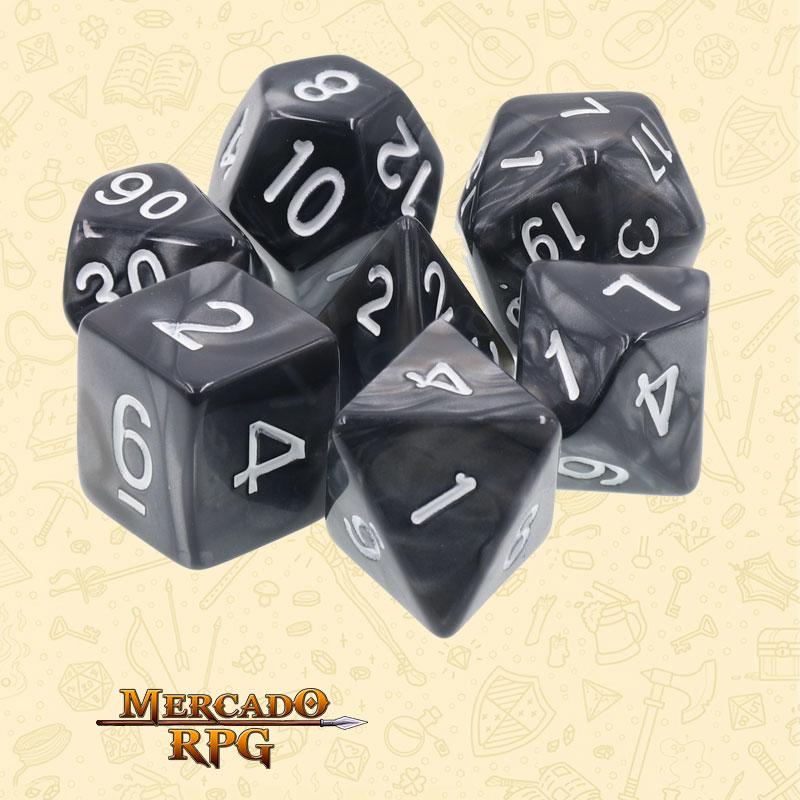 Dados de RPG - Conjunto com 7 Dados Perolados - Black Pearl Dice - Mercado RPG