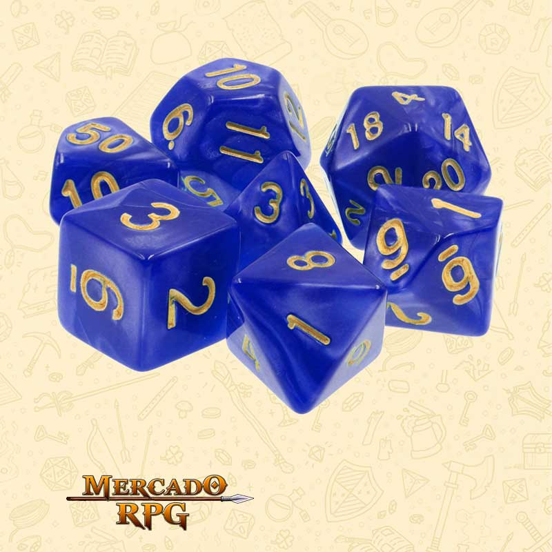 Dados de RPG - Conjunto com 7 Dados Perolados - Blue Pearl Dice Golden Font- Mercado RPG