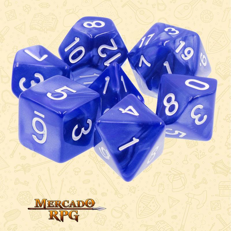 Dados de RPG - Conjunto com 7 Dados Perolados - Blue Pearl Dice - Mercado RPG