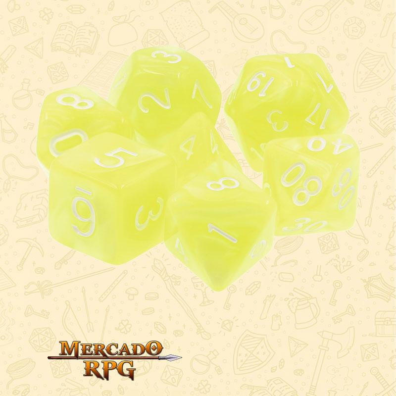 Dados de RPG - Conjunto com 7 Dados Perolados - Bright Yellow Pearl Dice - Mercado RPG