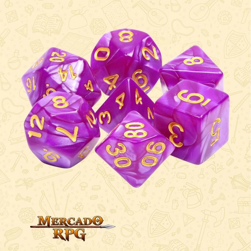 Dados de RPG - Conjunto com 7 Dados Perolados - Dark Purple Pearl Dice - Mercado RPG