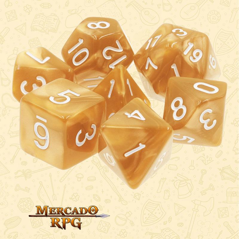 Dados de RPG - Conjunto com 7 Dados Perolados - Golden Pearl Dice - Mercado RPG
