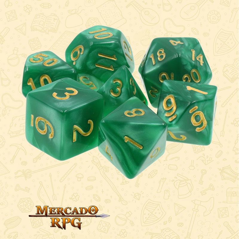 Dados de RPG - Conjunto com 7 Dados Perolados - Green Pearl Dice Golden Font - Mercado RPG