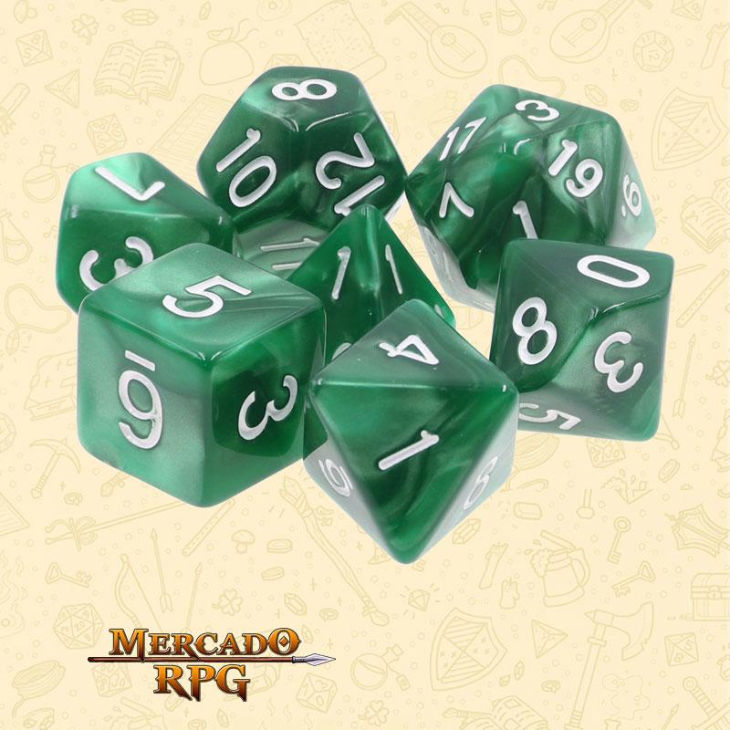 Dados de RPG - Conjunto com 7 Dados Perolados - Green Pearl Dice - Mercado RPG