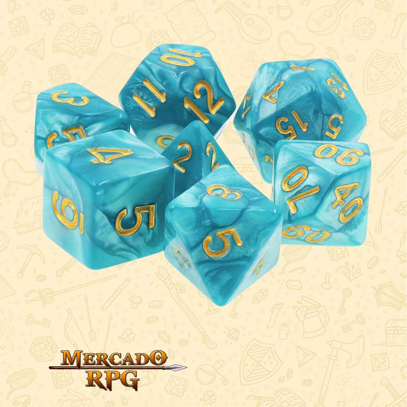 Dados de RPG - Conjunto com 7 Dados Perolados - Lake Blue Pearl Dice Golden Font - Mercado RPG