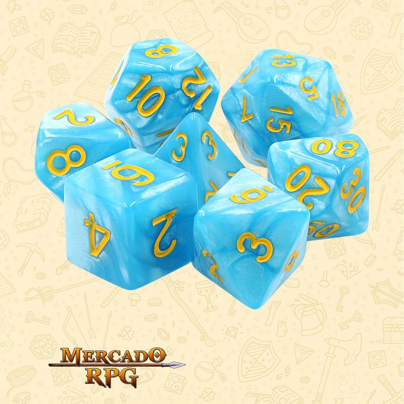 Dados de RPG - Conjunto com 7 Dados Perolados - Light Blue Dice Yellow Font - Mercado RPG