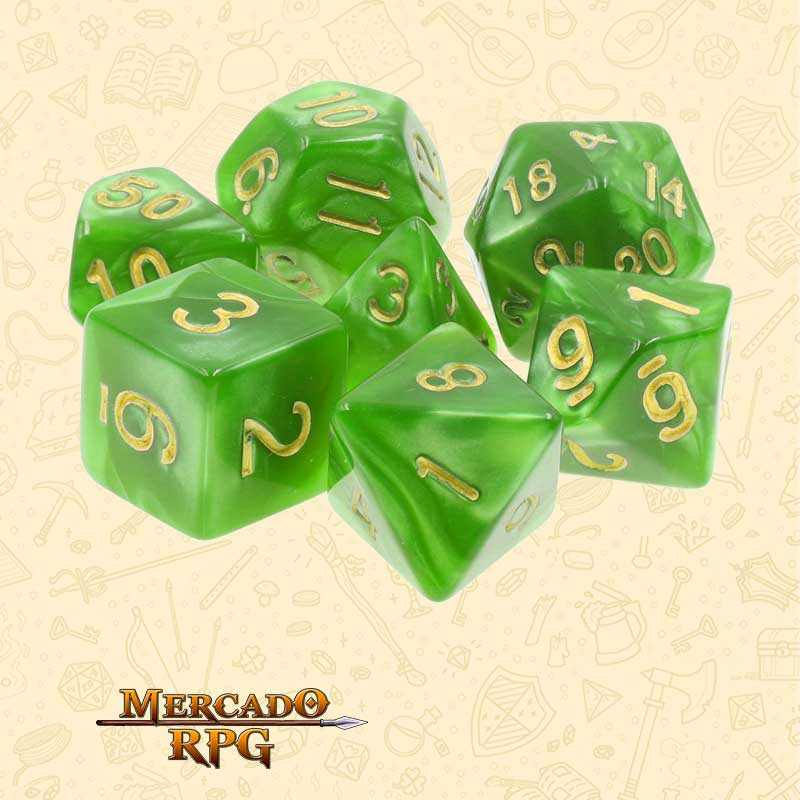 Dados de RPG - Conjunto com 7 Dados Perolados - Light Green Pearl Dice Golden Font - Mercado RPG