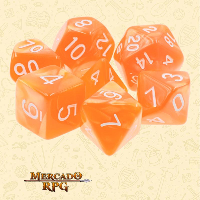 Dados de RPG - Conjunto com 7 Dados Perolados - Orange Pearl Dice - Mercado RPG