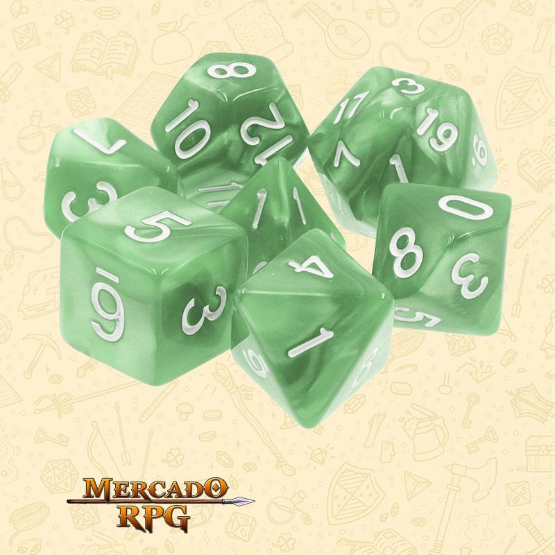 Dados de RPG - Conjunto com 7 Dados Perolados - Pale Green Pearl Dice - Mercado RPG