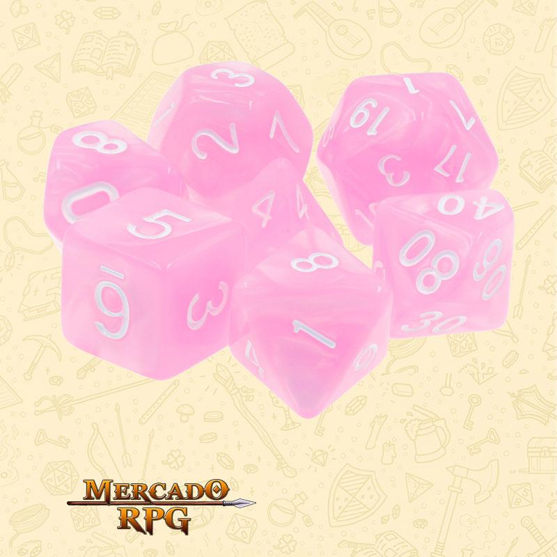Dados de RPG - Conjunto com 7 Dados Perolados - Pink Pearl Dice - Mercado RPG