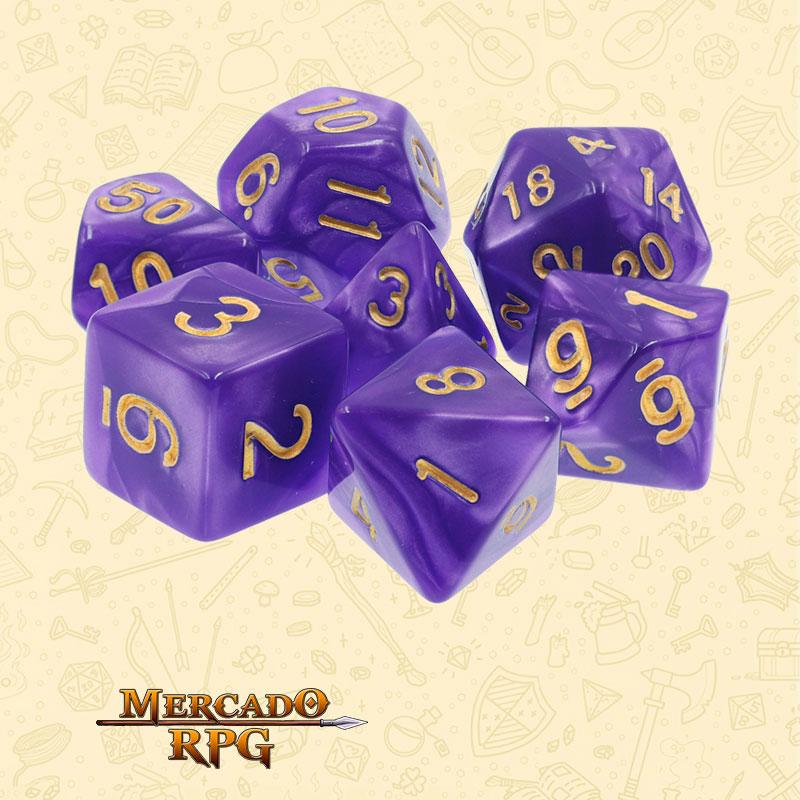 Dados de RPG - Conjunto com 7 Dados Perolados - Purple Pearl Dice Golden Font - Mercado RPG