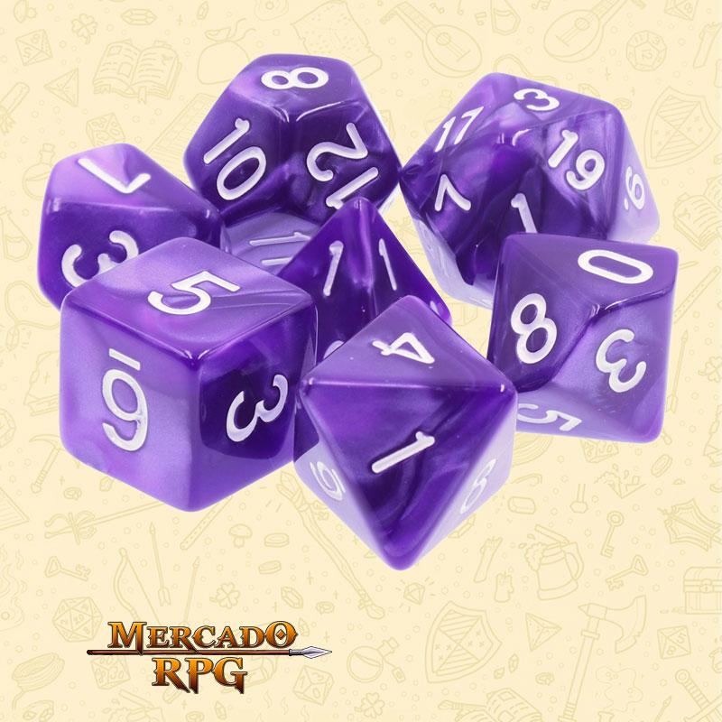 Dados de RPG - Conjunto com 7 Dados Perolados - Purple Pearl Dice - Mercado RPG