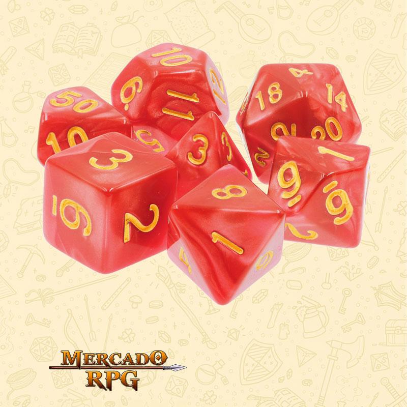 Dados de RPG - Conjunto com 7 Dados Perolados - Red Pearl Dice Golden Font - Mercado RPG