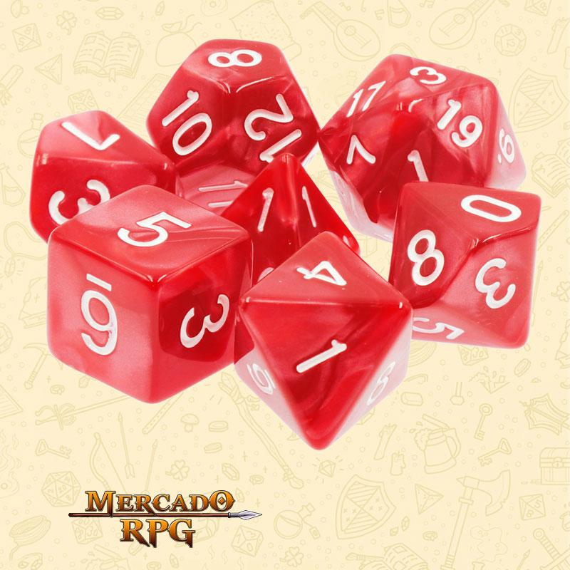 Dados de RPG - Conjunto com 7 Dados Perolados - Red Pearl Dice - Mercado RPG
