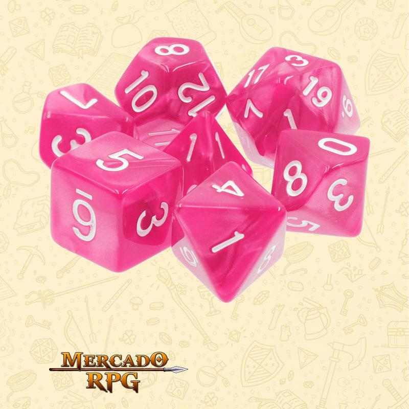 Dados de RPG - Conjunto com 7 Dados Perolados - Rose Red Pearl Dice - Mercado RPG