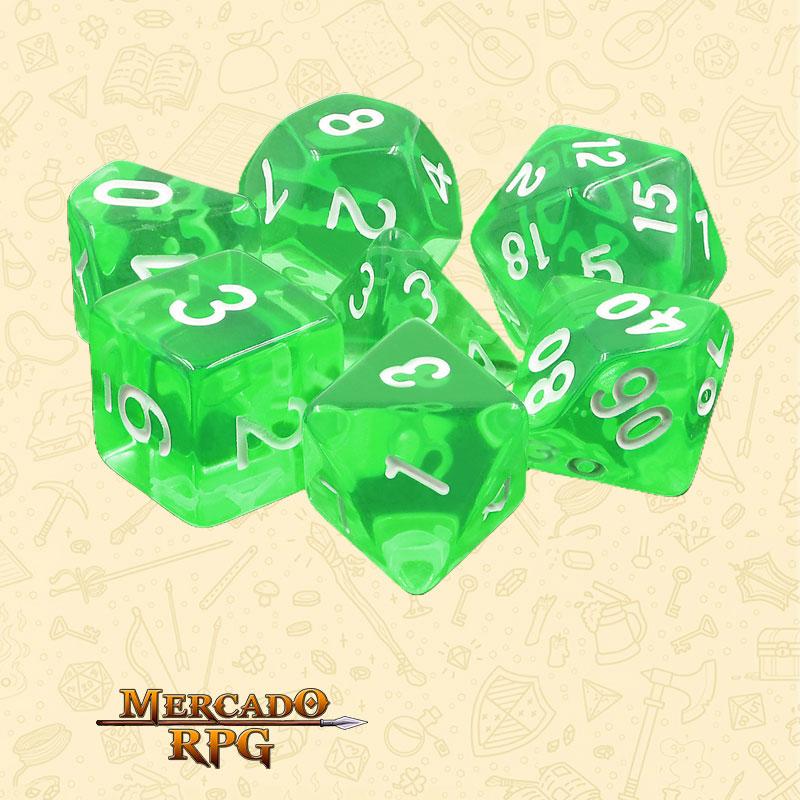 Dados de RPG - Conjunto com 7 Dados Translúcidos - Esmerald Gems Transparent Dice - Mercado RPG