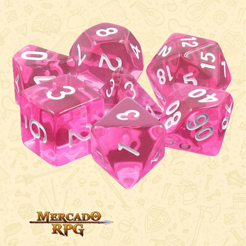 Dados de RPG - Conjunto com 7 Dados Translúcidos - Magenta Gems Transparent Dice - Mercado RPG