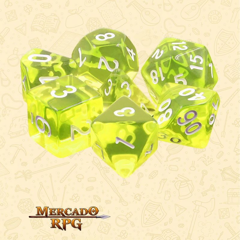 Dados de RPG - Conjunto com 7 Dados Translúcidos - Sun Gems Transparent Dice - Mercado RPG