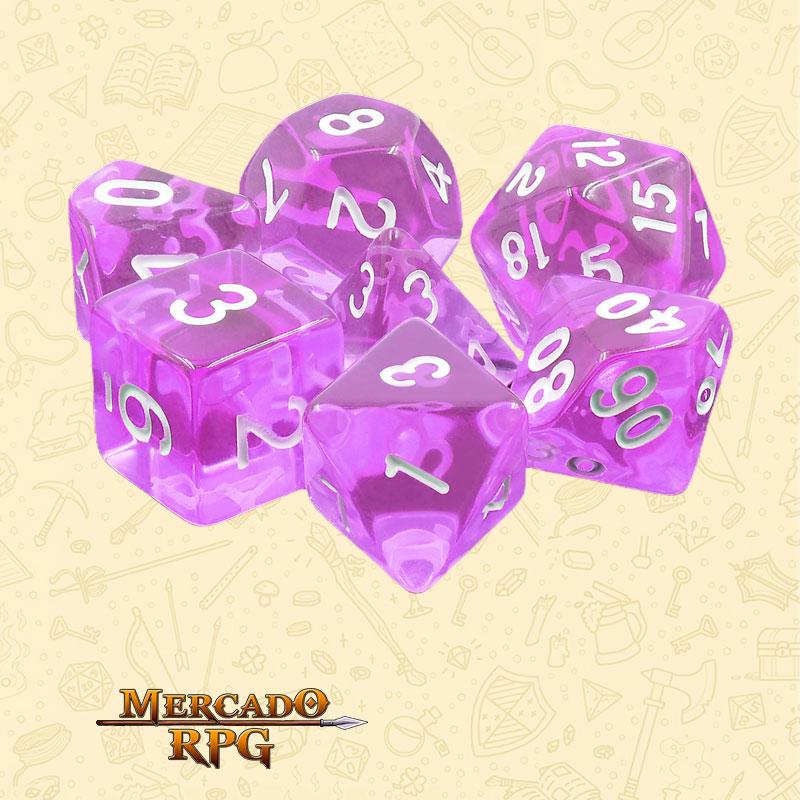 Dados de RPG - Conjunto com 7 Dados Translúcidos - Tyrian Gems Transparent Dice - Mercado RPG