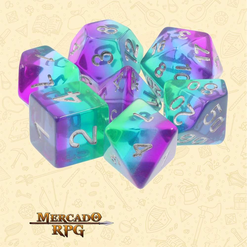 Dados de RPG - Conjunto com 7 Dados Translúcidos - Blue Aurora Transparent Layer Dice - Mercado RPG