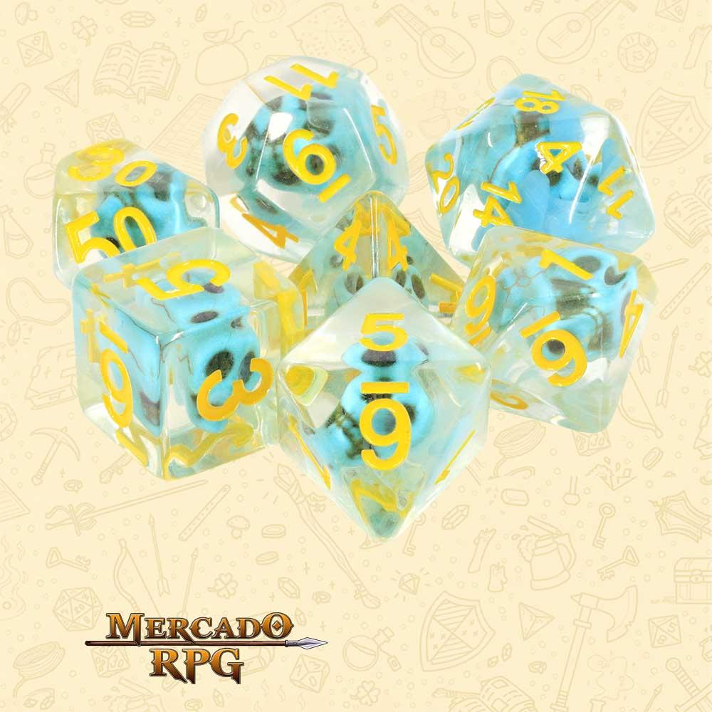 Dados de RPG - Conjunto com 7 Dados Translúcidos - Blue Skull Dice - Mercado RPG