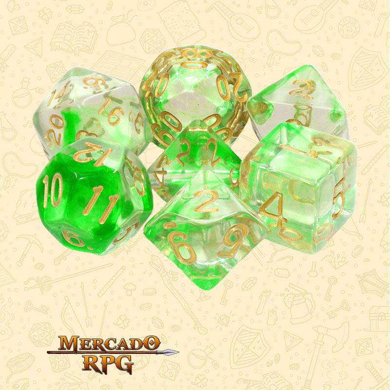 Dados de RPG - Conjunto com 7 Dados Translúcidos - Green Ripples Nebula Dice - Mercado RPG