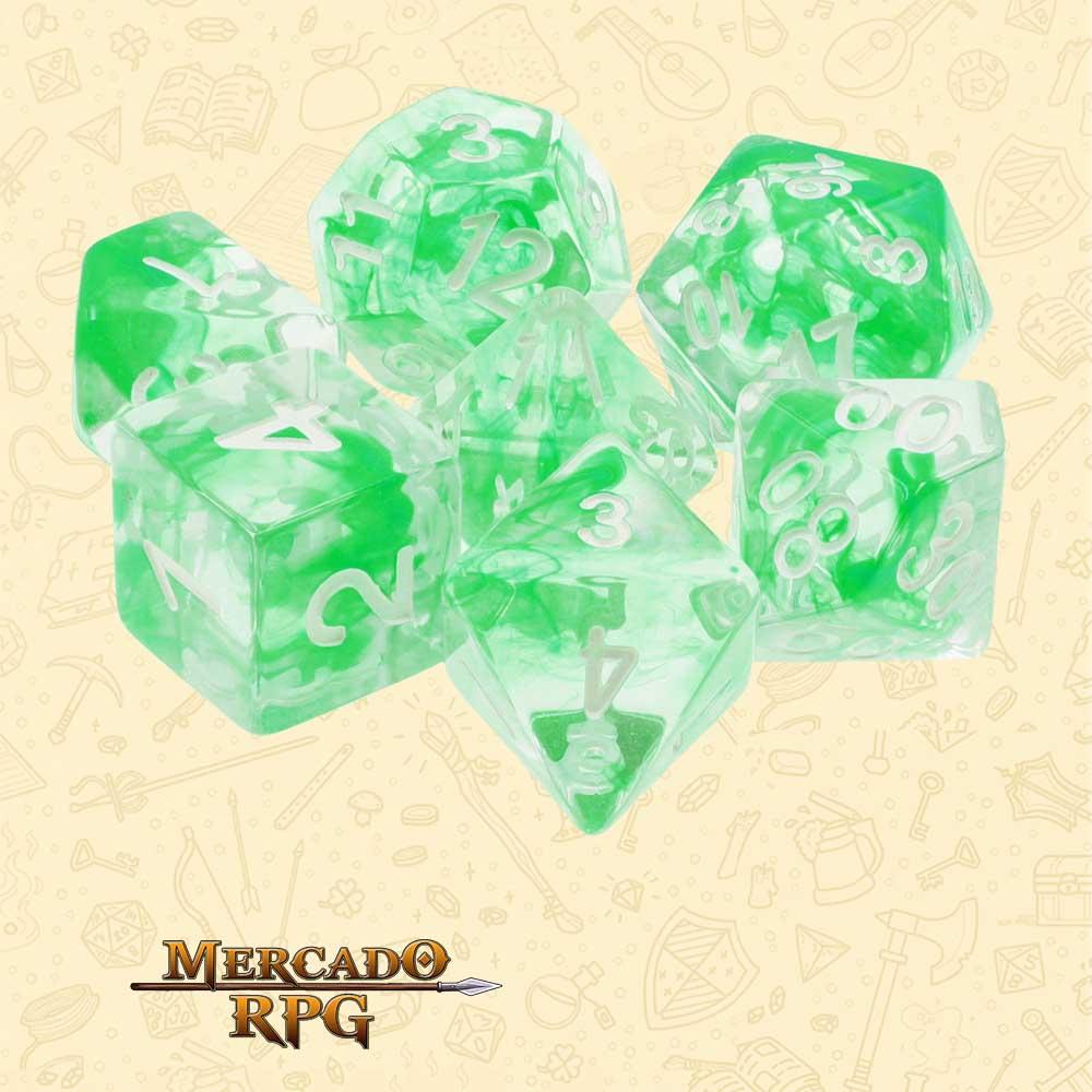 Dados de RPG - Conjunto com 7 Dados Translúcidos - Nebula Green Dice - Mercado RPG