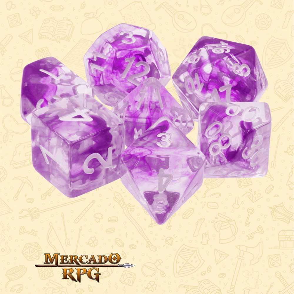 Dados de RPG - Conjunto com 7 Dados Translúcidos - Nebula Purple Dice - Mercado RPG