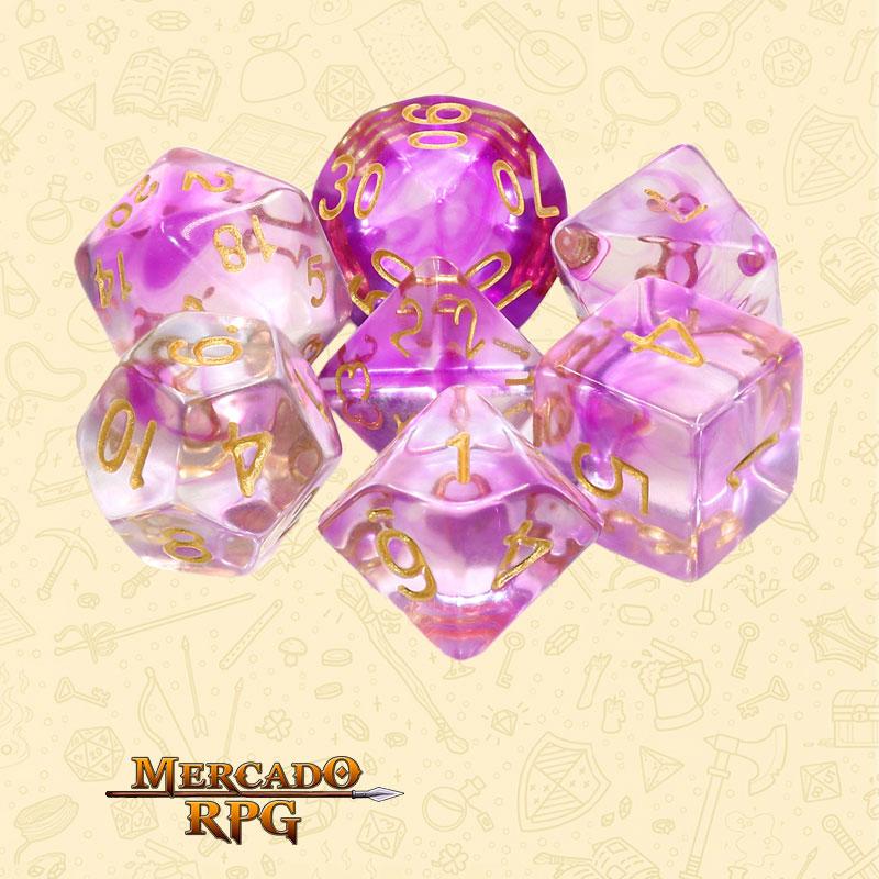 Dados de RPG - Conjunto com 7 Dados Translúcidos - Purple Smoke Nebula Dice - Mercado RPG