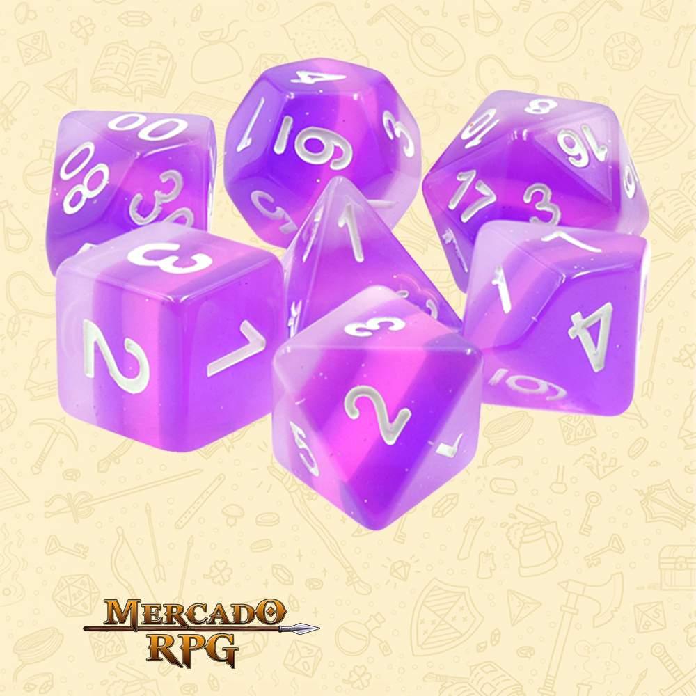 Dados de RPG - Conjunto com 7 Dados Translúcidos - Purple Transparent Layer Dice - Mercado RPG